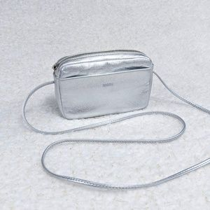 Baggu Milled Leather Mini Silver Crossbody Bag for sale